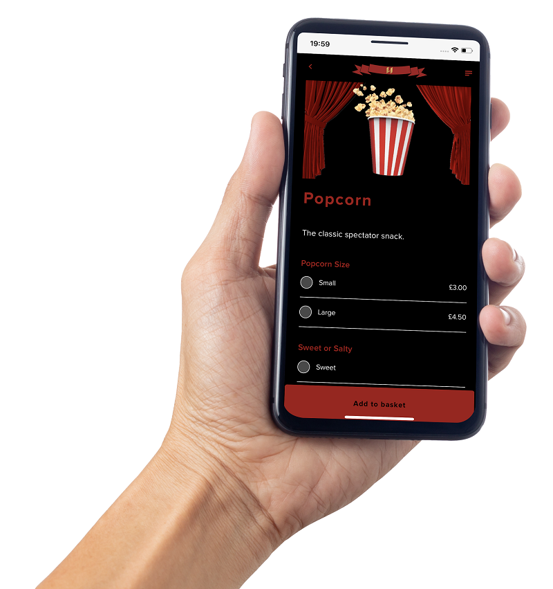 QR codes for in-seat mobile ordering at theatres