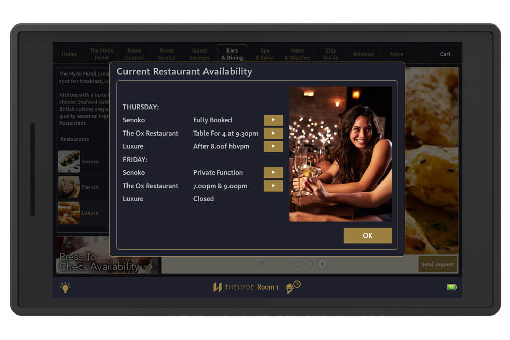 In room tablet bar restaurant reservations crave interactive for Tablet hotel booking